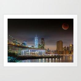 Super Blood Moon in New York City 2015 Art Print