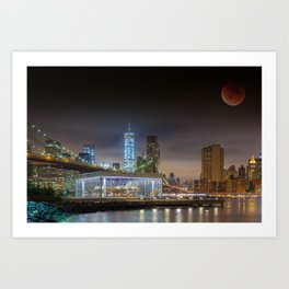 Super Blood Moon in New York City 2015 Art Print