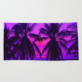 Pink Palm Trees by the Indian Ocean Beach Towel