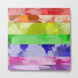 Rainbow Stripes - Abstract, textured, red, orange, yellow, green, blue, indigo, violet artwork Metal Print