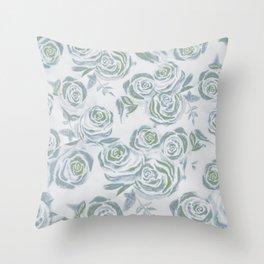 Dreamy Greens Rose Pattern Throw Pillow
