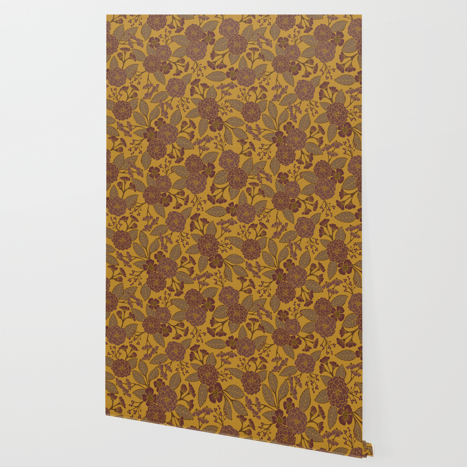 Mustard Yellow Brown Raisin Taupe Mauve Floral Pattern
