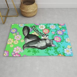 A black and white cat for Summer Rug