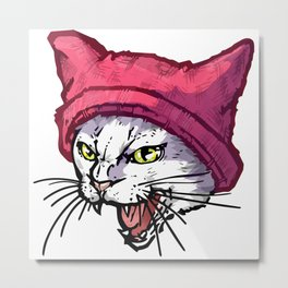 The Cat in the Hat (White) Metal Print