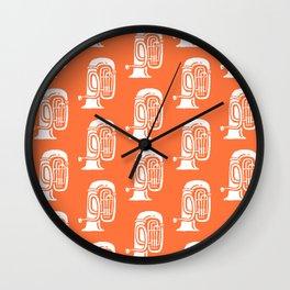 Tuba Pattern Orange Wall Clock