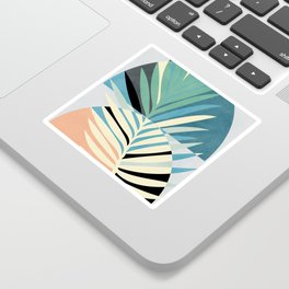 palm leaf minimal mid century modern Sticker