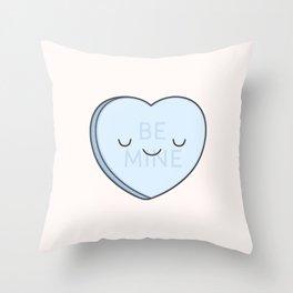 Blue Sweet Candy Heart Throw Pillow