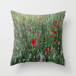 Poppy field, Summer greetings Throw Pillow