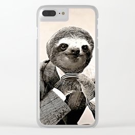 Gentleman Sloth with Assorted Pose Clear iPhone Case