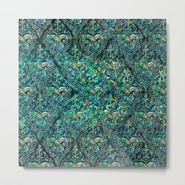 Persian Oriental pattern abalone and silver Metal Print