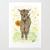 goat Art Prints featuring Goat by Nikki Laxar
