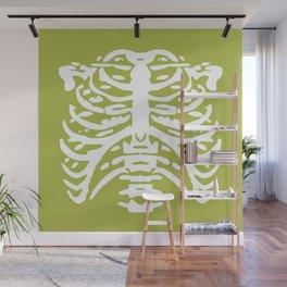 Human Rib Cage Pattern Chartreuse Green 2 Wall Mural