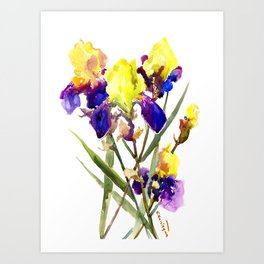 Garden Iris Floral Artwork Yellow Purple Blue Floral design, bright colored floral design Art Print