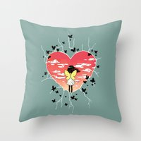 butterflies Throw Pillows featuring Butterflies by Freeminds