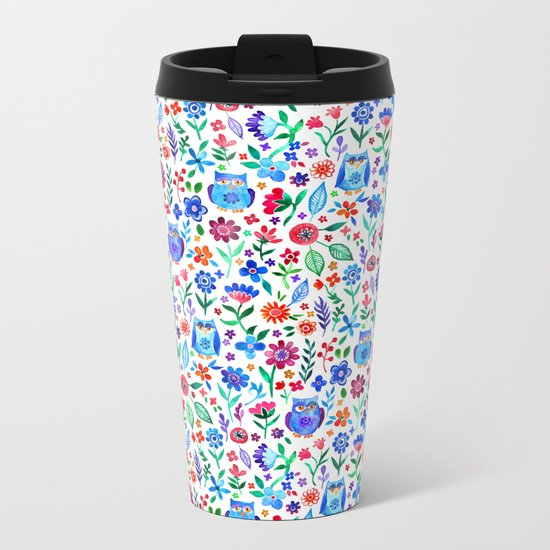 Little Owls and Flowers on White Metal Travel Mug
