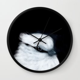 White Bird Black Background #decor #society6 #buyart Wall Clock