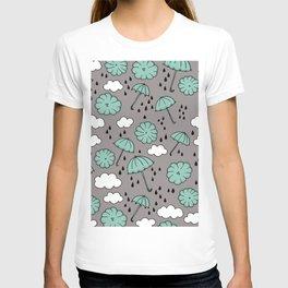 Blue umbrella sky rainy day abstract fall illustration pattern blue T-shirt