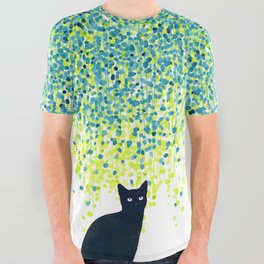 Cat in the garden under willow tree All Over Graphic Tee