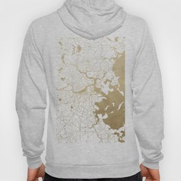 Boston White and Gold Map Hoody