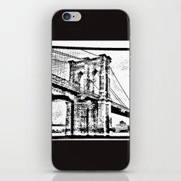 Sketched 10 Williamsburg Bridge White on Black iPhone Skin