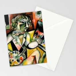 Artist Self Portrait with Seven Digits by Marc Chagall Stationery Cards