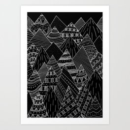 White line mounts Art Print