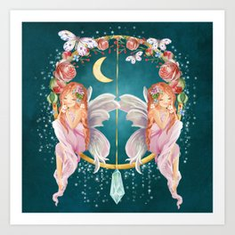 Roses And Red Haired Moonlight Star Fairies Art Print