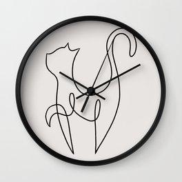 One Line Kitty III Wall Clock