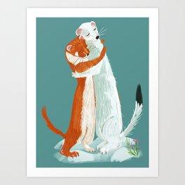 Weasel hugs Art Print