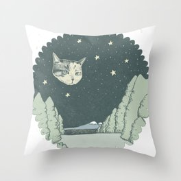 Cat Moon Throw Pillow