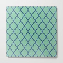 Classic Quatrefoil Lattice Pattern 738 Blue and Green Metal Print