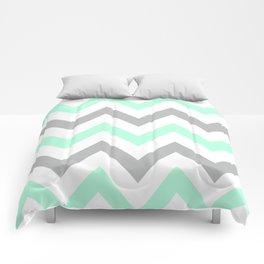 MINT & GRAY CHEVRON Comforters