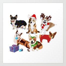 Christmas Corgis Holiday - Corgi Christmas Art Print