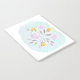 Mint and lavender watercolor floral Notebook