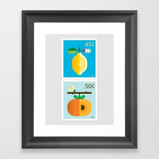 Fruit: Lemon & Persimmon Framed Art Print