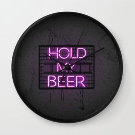 Pink Hold My Beer Neon Light Wall Clock