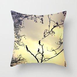 Cormorants at sunset Throw Pillow