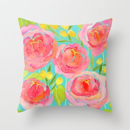 Pink Peonies On Turquoise - Watercolor Floral Print  Throw Pillow