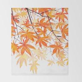 orange maple leaves watercolor Throw Blanket