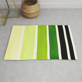 Sap Green Minimalist Mid Century Modern Color Fields Ombre Watercolor Staggered Squares Rug