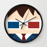 david tennant Wall Clocks featuring David Tennant, 10th doctor by heartfeltdesigns by Telahmarie