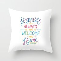 hogwarts Throw Pillows featuring Hogwarts by IndigoEleven