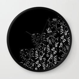Delicate Black and White Floral Decor Wall Clock