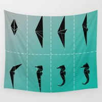 sea horse Wall Tapestries featuring SEA HORSE by ARCHIGRAF