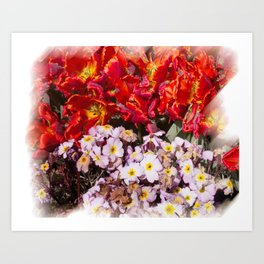 Flowers in town Art Print