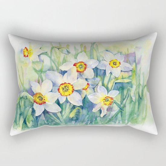 Daffodils watercolor illustration Rectangular Pillow