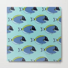 Powder blue surgeon fish pattern Metal Print
