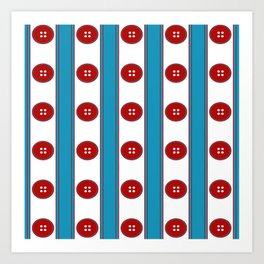 Red Buttons Ribbons Art Print