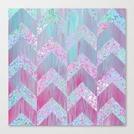 Geometrical pink teal watercolor splatters brushstrokes chevron Canvas Print