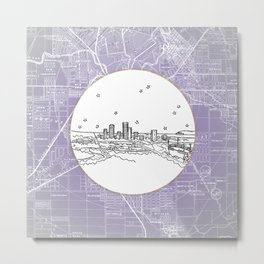 Adelaide, Australia City Skyline Illustration Drawing Metal Print